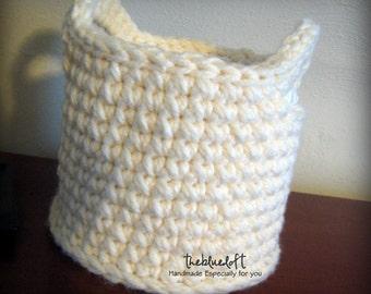 Crochet Basket Pattern Two Handle Crochet Basket Pattern, Home Decor, Storage Basket, Bathroom Organization, Medium Crochet Basket