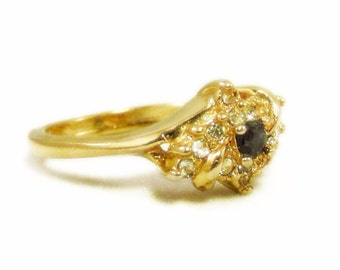 Vintage Designer Signed Uncas Navy Blue and Clear Rhinestone Gold Tone Cluster Ring - Size 9