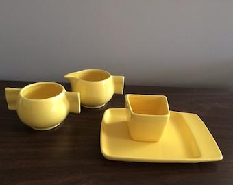 Vintage Franciscan Ware Gladding McBean Ceramic Streamline Moderne Cream And Sugar Four Piece Set