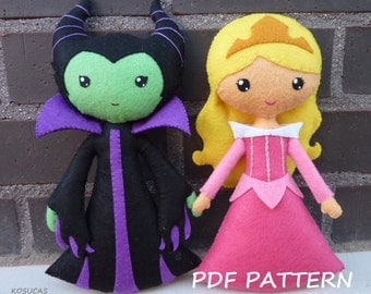 PDF sewing pattern to make a felt doll inspired in Sleeping Beauty and Maleficent