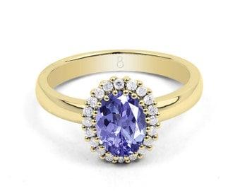 18ct Yellow Gold Tanzanite & Diamond Halo Engagement Ring 0.16ct 2.5mm
