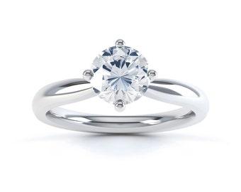 Aya 18ct White Gold Round Solitaire Diamond Engagement Ring 0.5ct