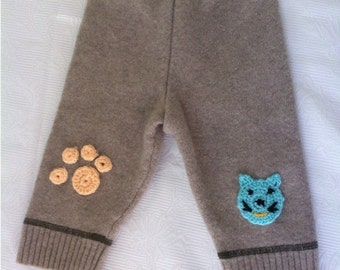 Baby wool pants from recycled wool sweater.Baby wool longies.