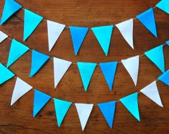 19 ft Felt Pennant Garland, Banner Garland, Blue Felt Garland, Nursery Decor, Blue Party Decoration, Triangle Garland, Bunting Flag Garland
