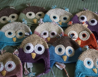 Crocheted owl hat with tassels