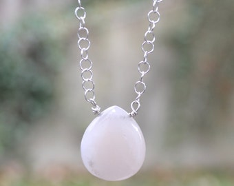 Sterling Silver Rose Quartz Necklace-Sterling Silver Chain