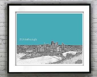 Pittsburgh Skyline Art Print Poster Pennsylvania PA Landscape Version 1