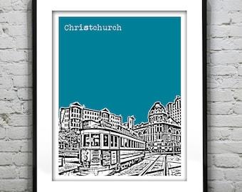 Christchurch New Zealand Poster Art Skyline Print
