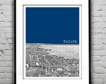 Duluth Minnesota Poster Art City Skyline Print MN Version 2