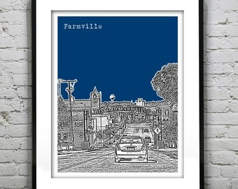 Farmville Virginia Poster Art City Skyline Print VA