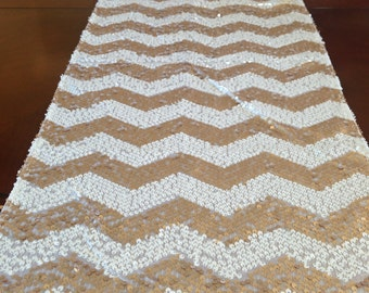 Sequin Chevron Table Runner   Gold And White