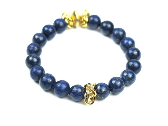 Beaded Stretch Bracelet in Blue and Gold with Lapis Lazuli and Gold Vermeil