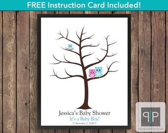 Owl Fingerprint Baby Shower Guest Book Tree, Printable Owl Fingerprint Guest Book, Owl Printable Thumbprint Tree, Boy Guestbook, Free Card