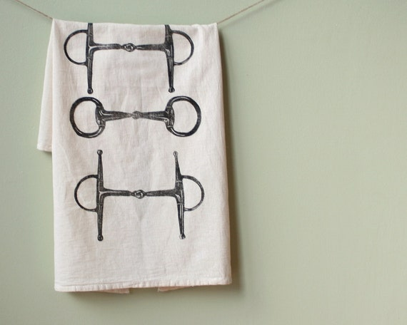 Flour Sack Towel- Horse Bit- Cotton Equestrian Kitchen Towel