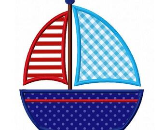 Sailboat Applique Machine Embroidery Design NO:0169
