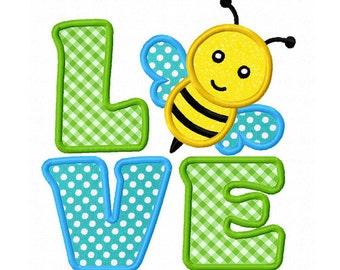 LOVE Bee Applique Machine Embroidery Design NO:0199