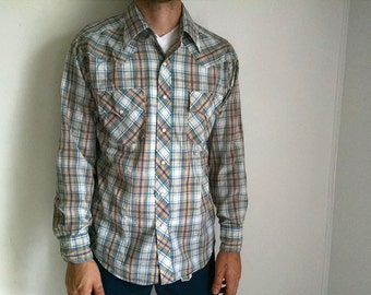 Green and Tan Plaid Vintage Western-wear Shirt