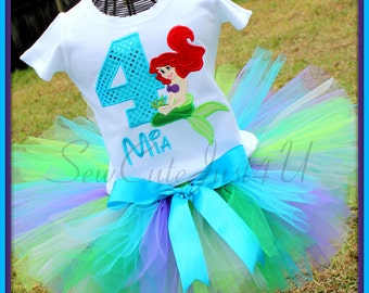 Little Mermaid Personalized Birthday Number Shirt and Tutu Set
