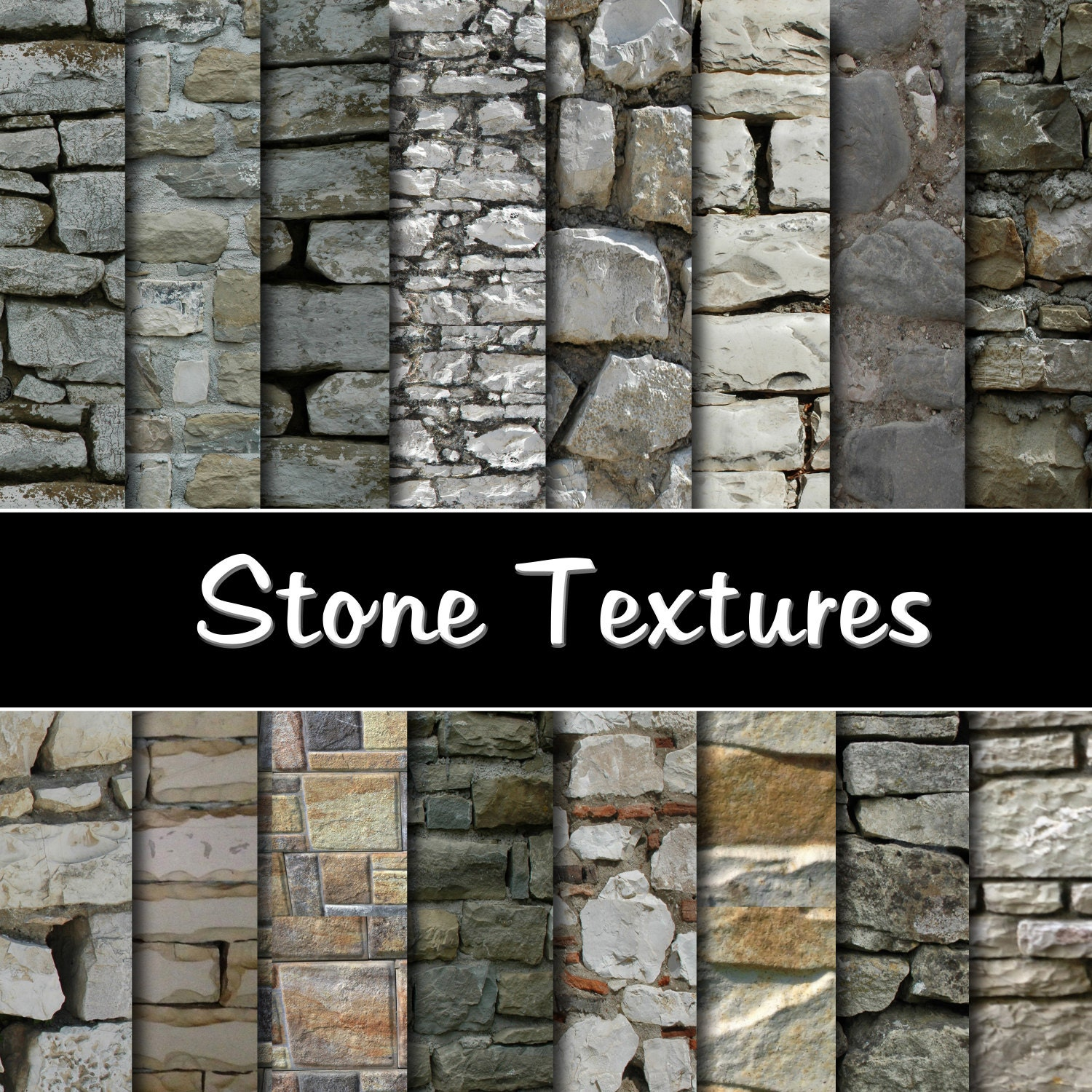 Paper Stone Walls : Stone wall digital paper pack instant download