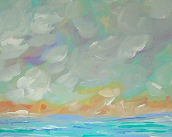 Seascape Original Painting 12x12 Canvas Contemporary Landscape Art Seafoam Green Pastel Blue Pink