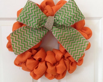 Burlap Pumpkin Wreath with Chevron Ribbon 15 inch