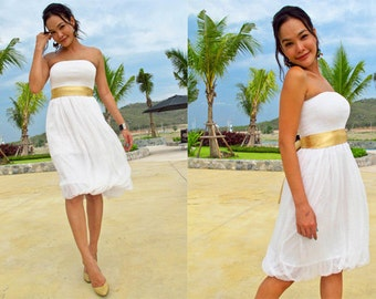 Bridesmaid White silk chiffon Strapless  Beach evening short Sun dress fits S M L XL