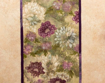 Hand painted/dyed art quilt - Zinnias