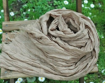 "Handmade Long Soft Gauzy Linen SCARF 26"" x 78"" (65 x 200 cm) Milk chocolate color with fringes"