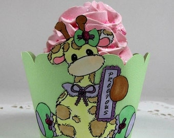 Giraffe Cupcake Wrappers, First Birthday Party Cupcake Holder, Baby Shower Decor, Second Birthday or Baby Shower Baby Animal Cupcake