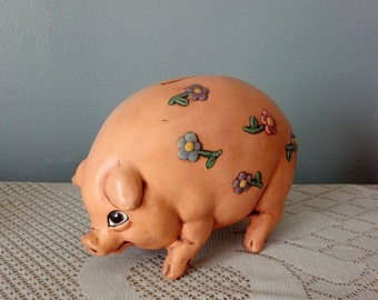 Hand Painted Ceramic Pig Coin Bank with Flowers
