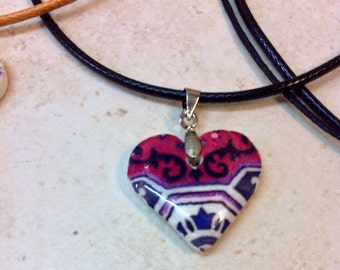 Litle Necklace whit Portuguese Tile, Very light Necklace, Litle Heart Necklace,