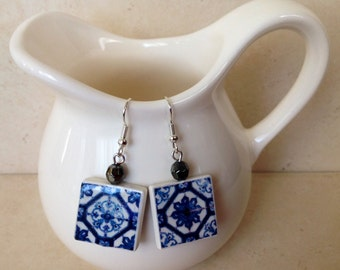 Earrings with Replica of Portuguese Tile