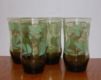 Vintage Green Glasses with Leaves, Green Water Glasses,