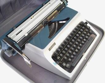 Typewriter Erika 41 vintage manual typewriter German navy blue typewriter mid century typewriter working copywiter office unused typewriter