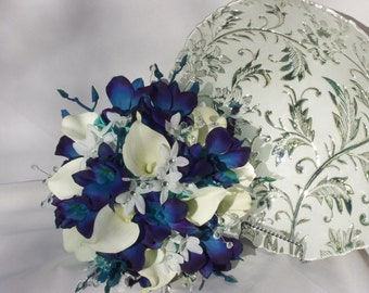 Valerie's Bridal Bouquet Blue Violet CA Dendrobuim Orchids, White Calla Lilies.Turquoise Hydrangeas, Crystals