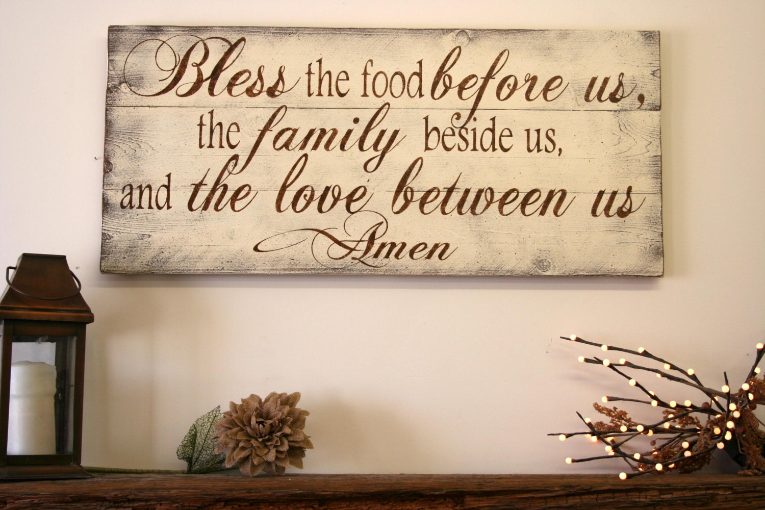 Bless the food before us wood kitchen sign by rusticlyinspired for Kitchen and dining room wall decor