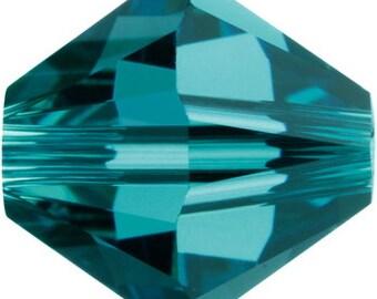50 Swarovski Crystal Beads 4mm bicone 5301 indicolite (blue green) transparent