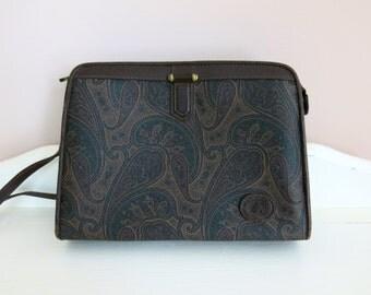 Vintage • Liz Claiborne Paisley Shoulder Bag • Dark brown handbag, pocketbook, purse
