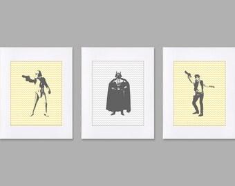 Digital Download Set of 3 Star Wars prints art storm Trooper, Darth, Han Solo, room decor kids