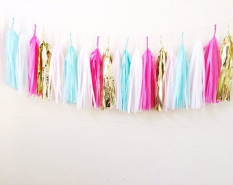 Select Your Own Colors>>FREE US SHIPPING >> Fully Assembled>>>SoCal Tissue Paper Tassel Garland >> Fully Assembled