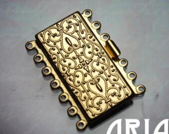 NOUVEAU BOX CLASP:  26x36mm Matte Gold Plated Brass Seven Strand Nouveau Box Clasp (1)
