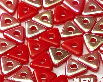 OPAQUE RED AB: Tri-Bead Czech Glass Triangle Bead, Sequin or Spacer, Reversible 4mm (5 grams)