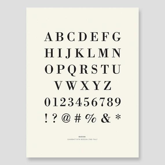 Bodoni Alphabet Canvas Print
