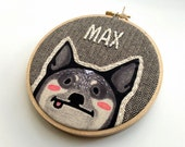 Custom Dog Portrait - Personalized Pet Portrait - Gift for Dog Lover - 5 inch Emboidery Hoop