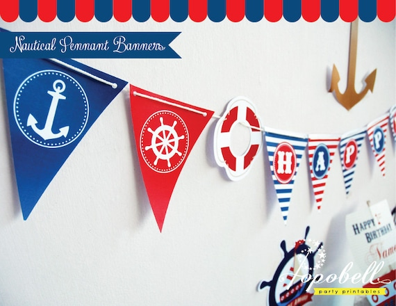 Nautical Pennant Banners with Happy BirthdayText for Nautical