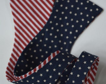 Bow ties for men,Reversible patriotic bow tie for men, stars and stripes bow tie,red white blue bow tie,stars and stripes