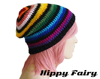 Womans Rainbow beanie, rainbow pride , Womans slouch beanie, womans Crochet beanie, rainbow crochet
