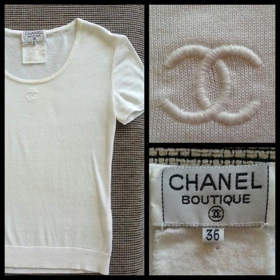 Flash sale chanel authentic cc logo iconic white vintage for Authentic chanel logo t shirt