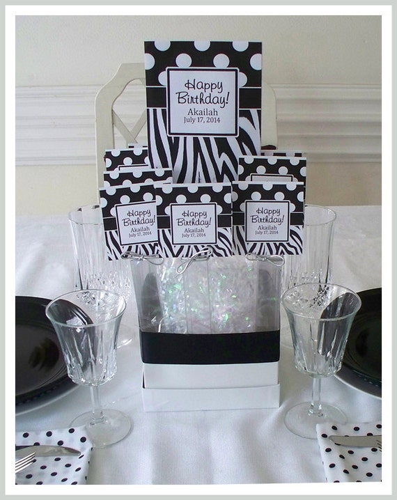 1 Centerpiece Classic Dots & Zebra with crystal clear box, grand tag, metallic loop or star bow  easy assembly 20.00 each