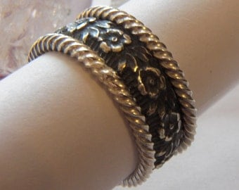 Sterling silver highly textured floral patterned band ring and two heavy sterling stackers